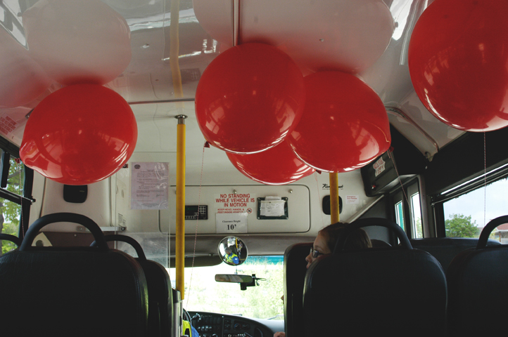 Red balloon party bus 5