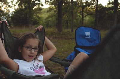 Olivia and campsite